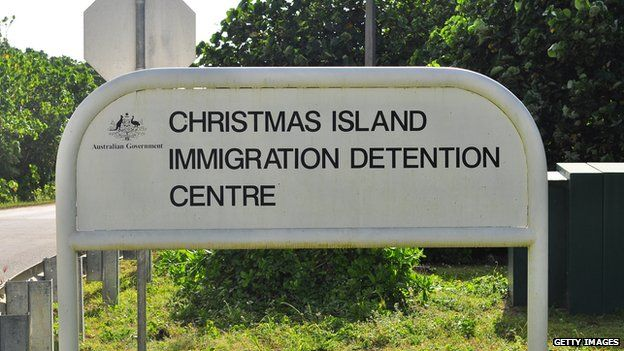 Sign for Christmas Island Immigration Detention Centre. July 2013