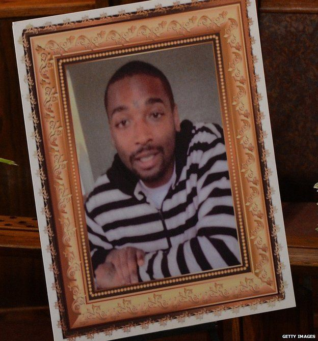 Photograph of Ezell Ford displayed at his funeral in Los Angeles on August 30, 2014.
