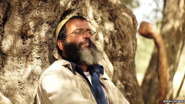 Salah Abu Ali in the shade of one of the oldest olive trees in Palestine