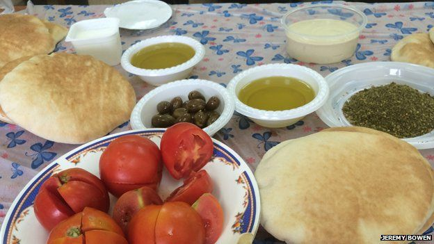 Olives in a typical Palestinian snack