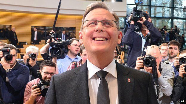 Die Linke leader Bodo Ramelow after winning vote, 5 Dec 14