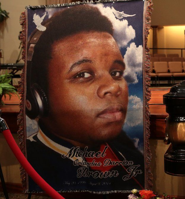 Image of Michael Brown at his funeral on 25 August 2014 in St. Louis Missouri.