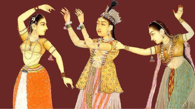 Dancing Moghul women. From Auguste Racinet's Le Costume Historique - FROM WIKIMEDIA COMMONS