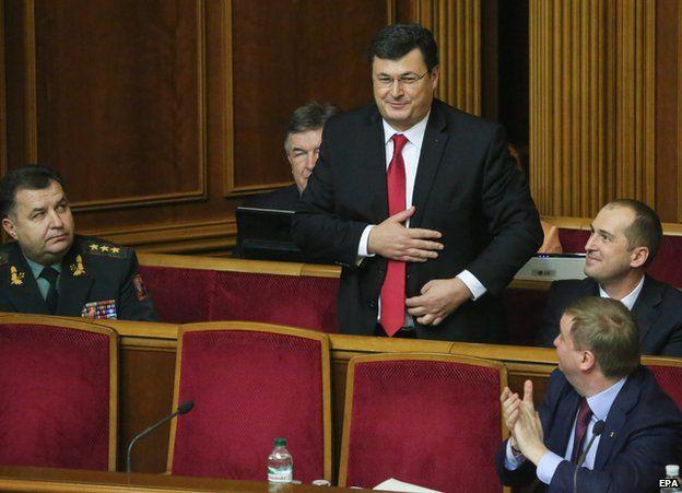 Ukraine's newly-appointed Health Minister Alexander Kvitashvili, a Georgian national attends parliament session in Kiev, 2 Dec 2014