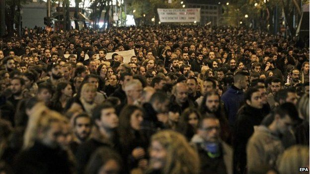 Demonstrators take part in a rally on the anniversary of the killing of teenager Alexis Grigoropoulos by a Greek police officer, in Athens, Greece, 06 December 2014