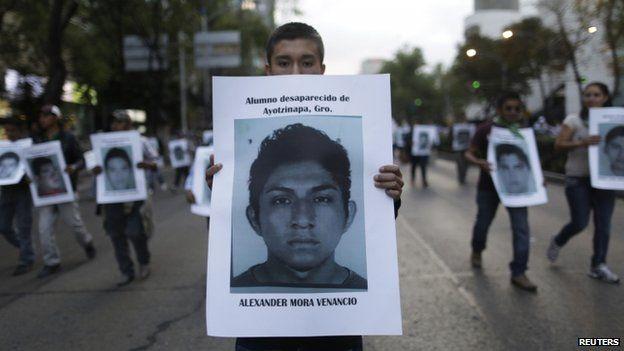 Demonstrators in Mexico City, 6 Dec 14