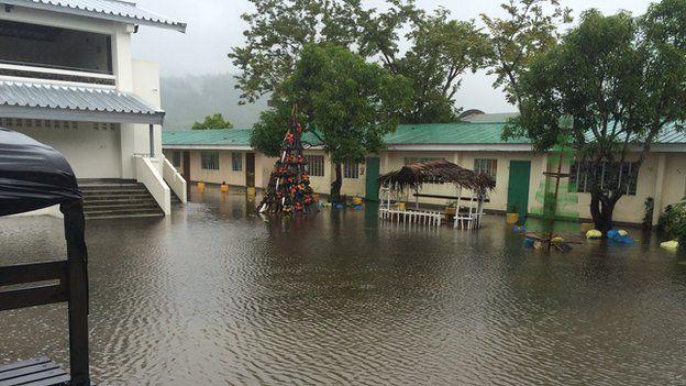 Flooded evacuation centre in Polangi, Albay Province