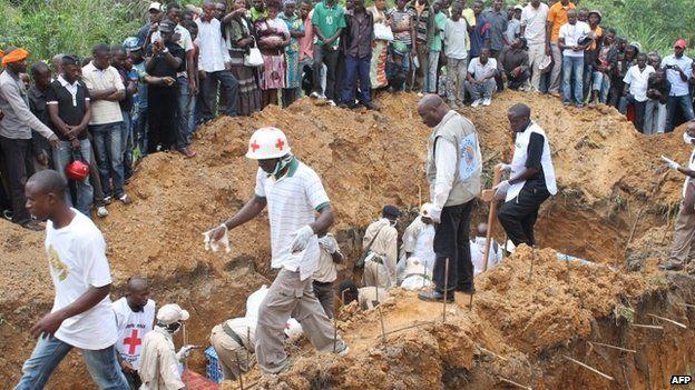 Burial of victims of attacks near Beni, blamed on Ugandan rebels