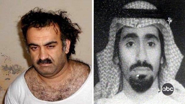 File photograph of Khalid Sheikh Mohammed, left, and Abd al-Rashim al-Nashiri, right