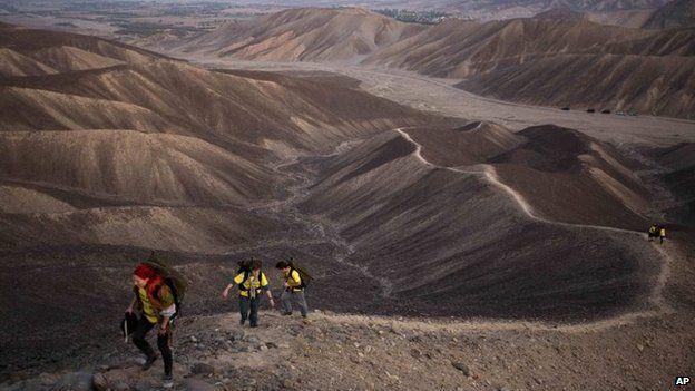 Greenpeace activists walk towards the historic landmark of the hummingbird in Nazca on 8 December, 2014.