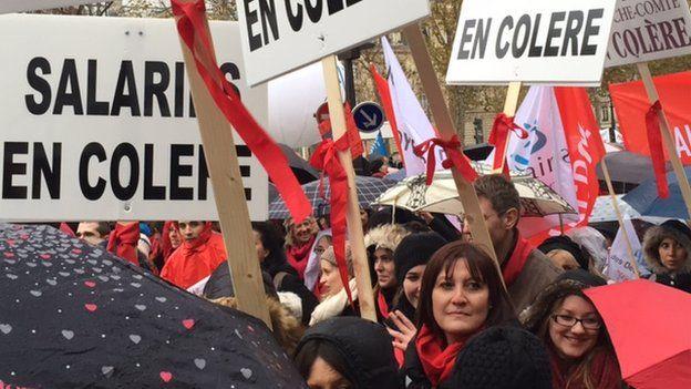 Demonstrators against economic reforms in Paris