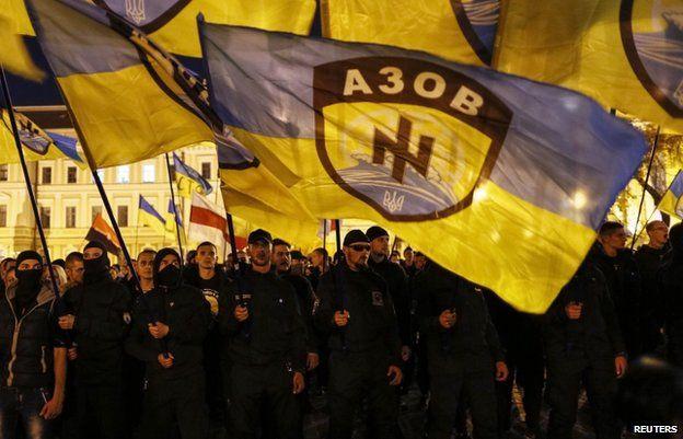 Azov battalion volunteers in Kiev (file pic Oct 2014)