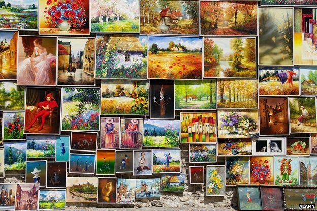 Kitsch art on sale in Poland