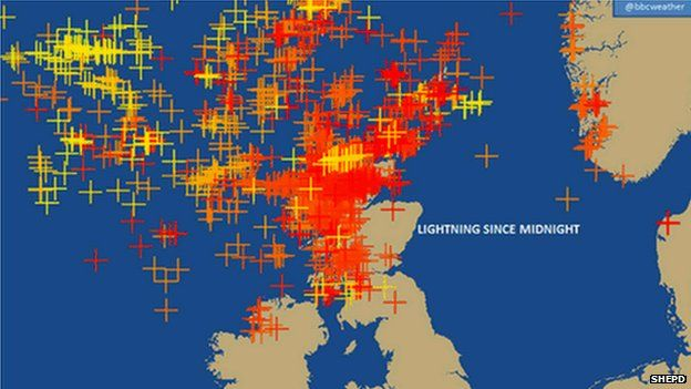 SHEPD graphic of lightning strikes in Scotland