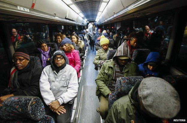 Protesters on a bus leaving New York for Washington DC, 13 December