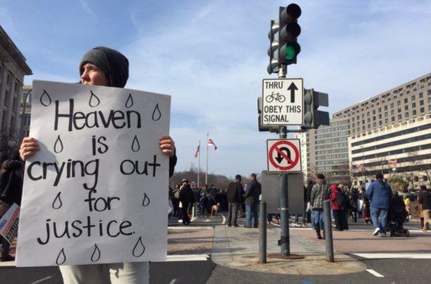 A protester in Washington DC, 13 December
