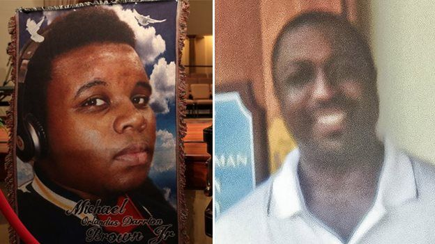 Undated photos of Michael Brown (left) and Eric Garner