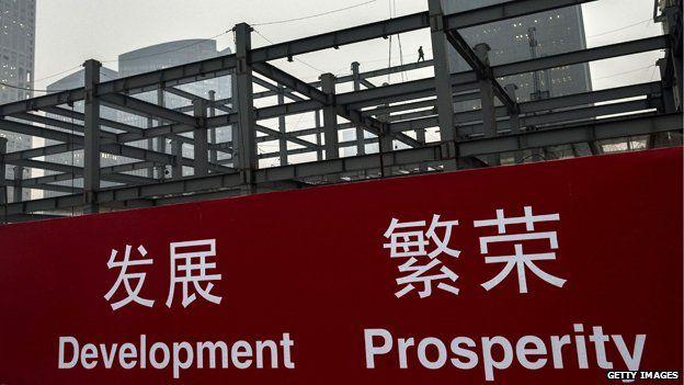 Sign in China reading 'Development Prosperity'