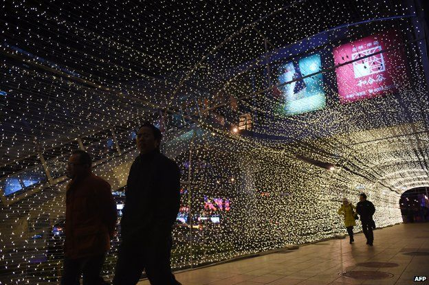 Christmas lights at a shopping mall in Beijing.
