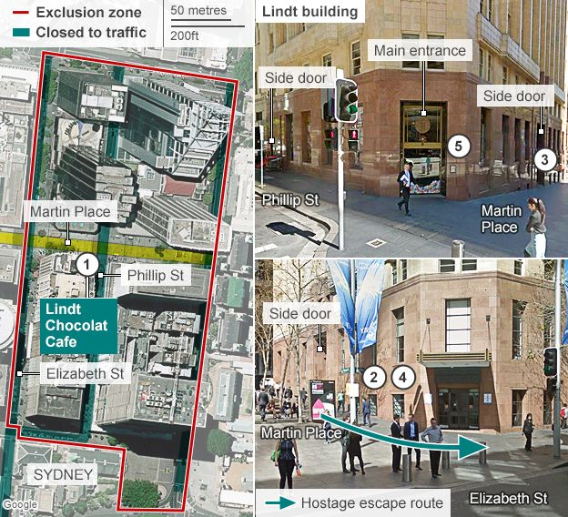 Map and timeline of the Sydney siege