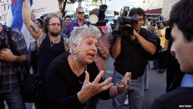 Anti-Castro activists protest in Little Havana in Miami, Florida 17 December 2014.