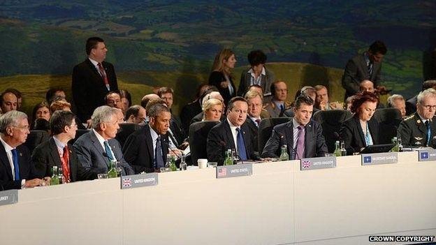 Arweinwyr NATO yn y gynhadledd