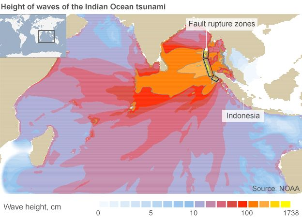 Map showing the wave height of the 2004 Indian Ocean tsunami