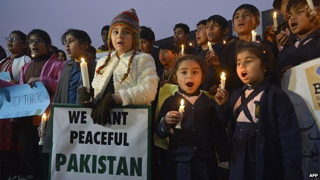 Children in Lahore at protest after the Peshawar massacre