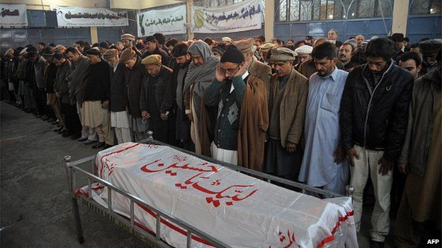 The coffin of one of the victims of the Peshawar massacre