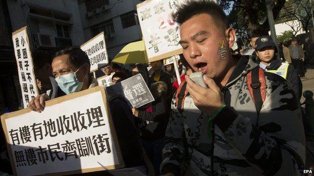 Protesters in Macau. Photo: 20 December 2014