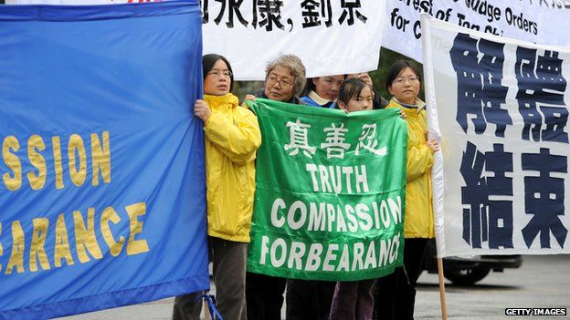 Supporters of the Falun Gong spiritual movement protest outside the Confucius Institute at Melbourne University, Australia, June 2010