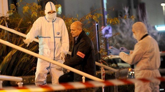 Police at the scene of a knife attack in Tours