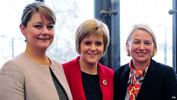 Green Party leader Natalie Bennett (far right) at a meeting with SNP leader (Nicola Sturgeon) and Plaid Cymru leader Leanne Wood (left)