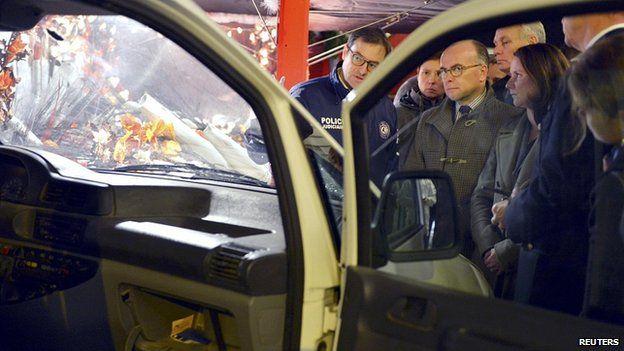 French Interior Minister Bernard Cazeneuve, centre, in Nantes. 22 Dec 2014