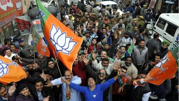 BJP supporters in Jammu celebrate election win on 23 December 2014
