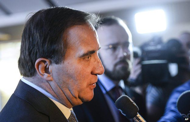 Swedish Prime Minister and Social Democratic Party leader Stefan Lofven answers questions after a press conference at the Swedish Parliament in Stockholm, Sweden, 27 December 2014