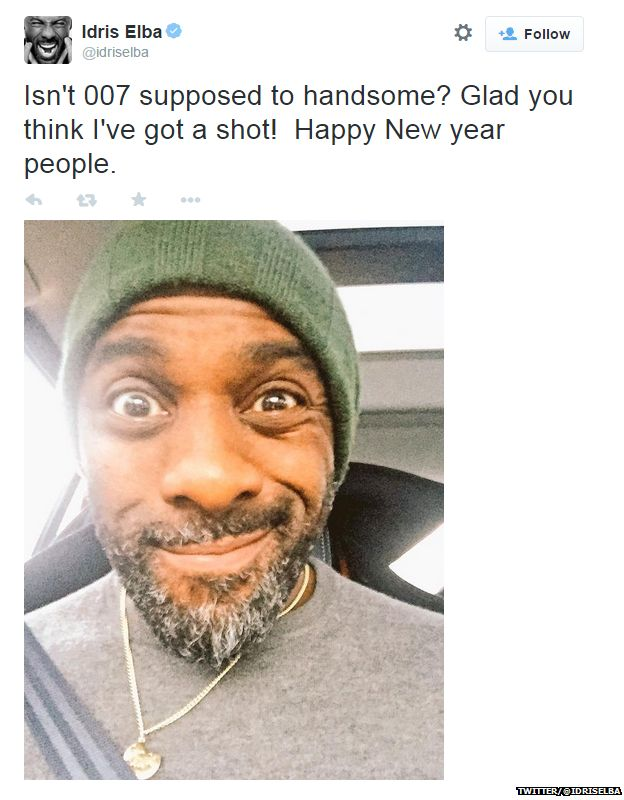 """Tweet from Idris Elba with a picture of him, reading: """"Isn't 007 supposed to handsome? Glad you think I've got a shot! Happy New year people."""""""