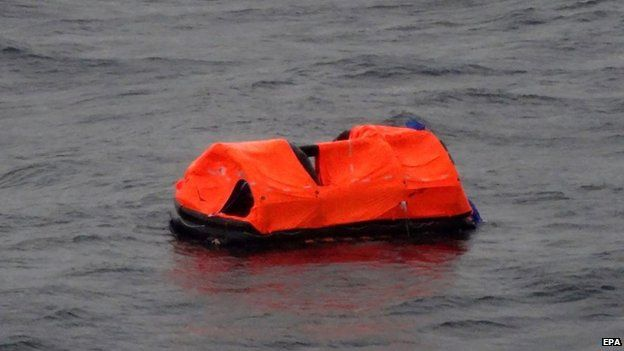 A handout photograph provided by Greek News website skai.gr shows objects in the sea close to the area where the ferry Norman Atlantic was on fire in the Adriatic Sea, 28 December 2014.