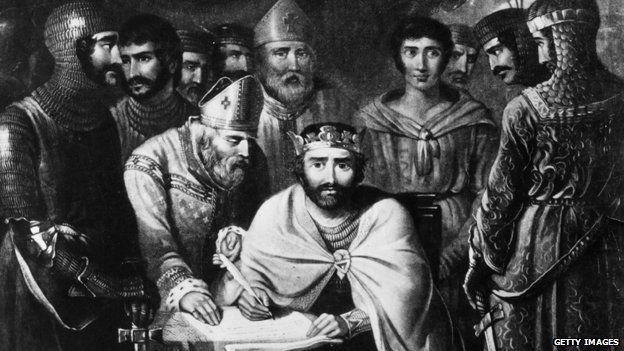 Illustration of King John signing Magna Carta