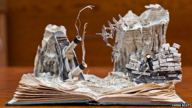 Paper sculpture of Whisky Galore