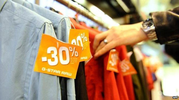 Clothes sales in a French shop