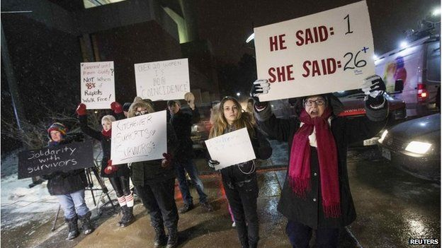 Several dozen protesters picketed the show
