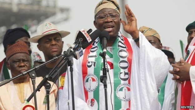 Nigeria's President Goodluck Jonathan speaks during the flag-off for his campaign for a second-term in office, in Lagos on 8 January 2015