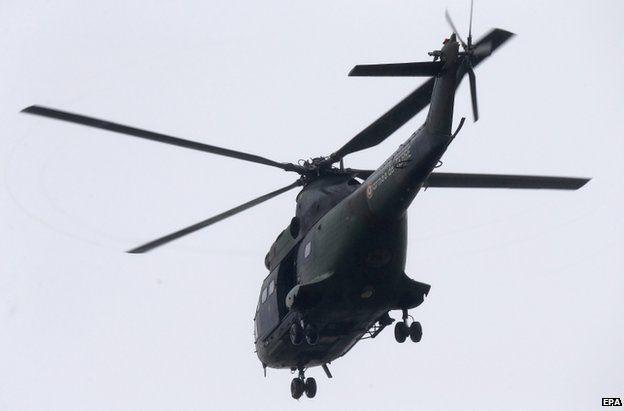 A police helicopter over Dammartin-en-Goele, northern France, 9 January