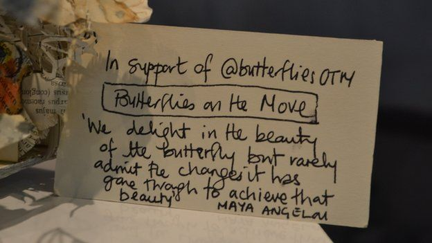 All the book sculptures come with a label describing why they have been made