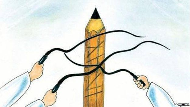 Cartoon of a pen being flogged