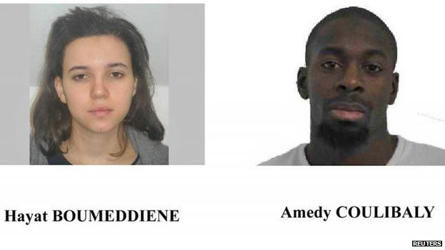 A call for witnesses released by the Paris Prefecture de Police January 9, 2015 shows the photos of Hayat Boumeddiene (L) and Amedy Coulibaly, who are considered to be armed and dangerous, and are actively being sought in the shooting death of a woman police in Montrouge, near Paris