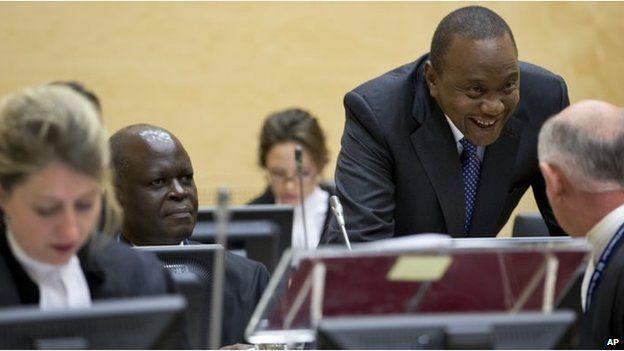 Uhuru Kenyatta (standing) at the ICC (Oct 2014)
