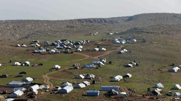 Tents at a camp hosting displaced Iraqi from the Yazidi community near Mosul