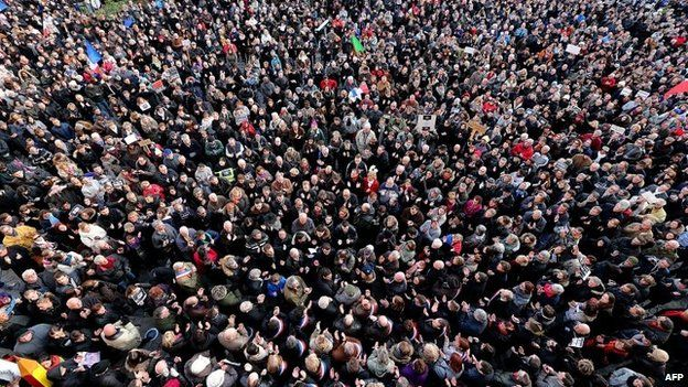 """People take part in a Unity Rally """"Marche Republicaine"""" in Reims on 11 January 2015"""